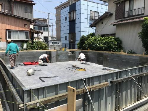 新しい静岡市の現場、基礎工事始まっています